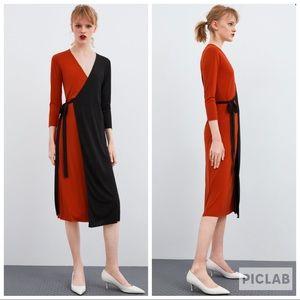 NWT • Zara • Block Color Wrap Dress
